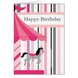 Happy Birthday Pink Fair Carousel Greeting Card