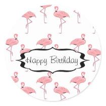 Happy Birthday Pink Flamingo Pattern Classic Round Sticker
