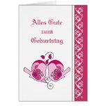 Happy Birthday  Pink  Floral Hearts  Birds German Greeting Card