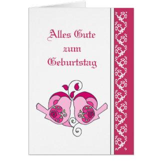 Happy Birthday  Pink  Floral Hearts  Birds German Card