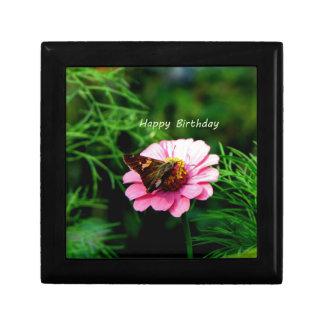 Happy Birthday Pink Flower Butterfly Jewelry Box
