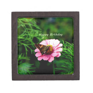 Happy Birthday Pink Flower Butterfly Premium Gift Boxes