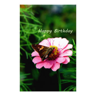 Happy Birthday Pink Flower Butterfly Stationery