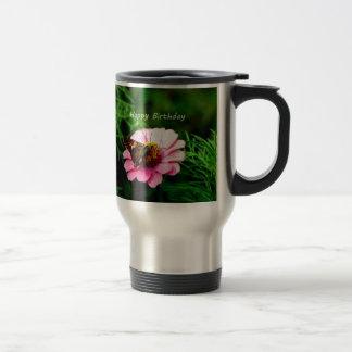 Happy Birthday Pink Flower Butterfly Travel Mug