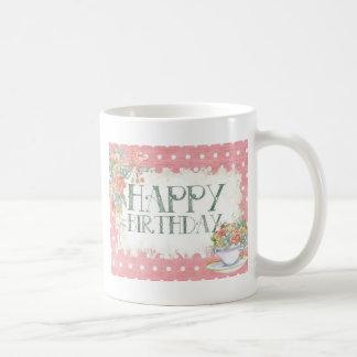 Happy Birthday pink Flowers Coffee Mug