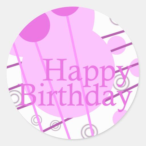 Happy Birthday Pink Fun Sticker