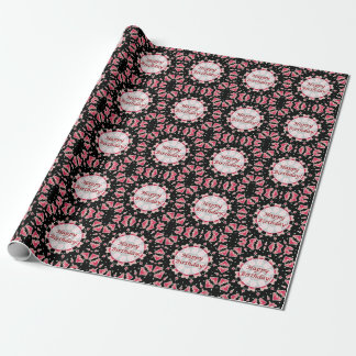 Happy Birthday Pink Heart Mandala Black Wrap Paper Gift Wrapping Paper