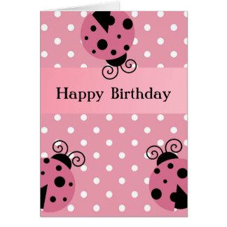 Happy Birthday Pink Ladybug and Polka Dots Greeting Cards