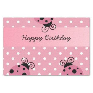 """Happy Birthday Pink Ladybug Polka Dot Tissue Paper 10"""" X 15"""" Tissue Paper"""