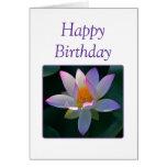 Happy Birthday Pink Lotus Flower Greeting Card