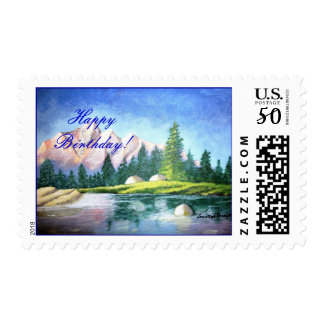Happy Birthday Pink Mountain Painting Stamp