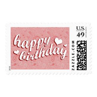 happy birthday : pink paisley : postage