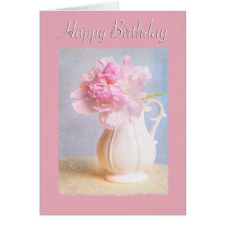 Happy Birthday Pink Peony White Vase Card