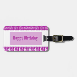 Happy Birthday Pink Purple Greeting Love Romance 9 Tag For Bags