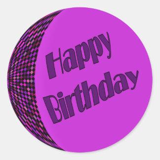Happy Birthday pink purple Classic Round Sticker