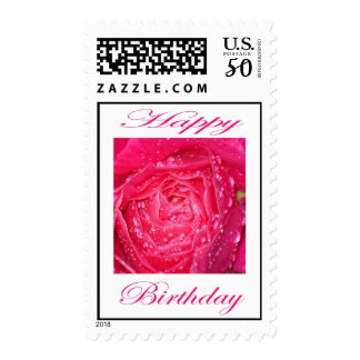 Happy Birthday Pink Rose with Rain Drops Postage