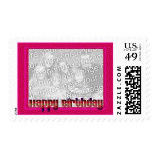 happy birthday pink stamp