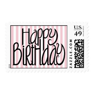 Happy Birthday Pink Stripes Stamp