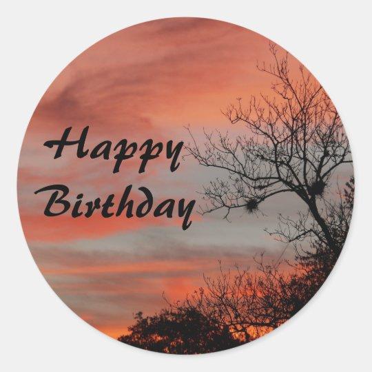 Happy Birthday, pink sunrise with tree Classic Round Sticker
