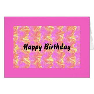 Happy Birthday.Pink Swirl Card