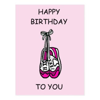Happy Birthday, pink trainers for female runner. Postcard