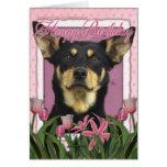 Happy Birthday - Pink Tulips - Australian Kelpie Greeting Card