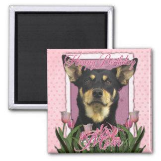 Happy Birthday - Pink Tulips - Australian Kelpie Refrigerator Magnets