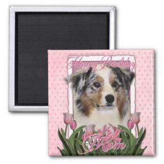 Happy Birthday - Pink Tulips - Australian Shepherd Refrigerator Magnets