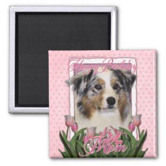Happy Birthday - Pink Tulips - Australian Shepherd Fridge Magnets