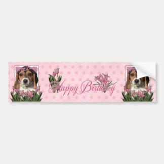 Happy Birthday - Pink Tulips - Beagle Puppy Bumper Sticker