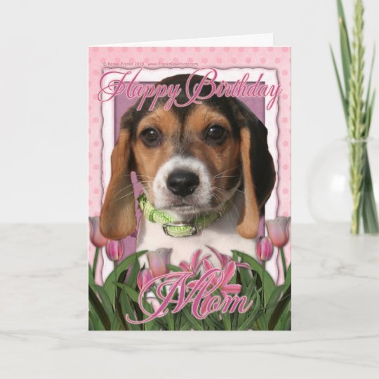 Happy Birthday Pink Tulips Beagle Puppy Card Zazzle