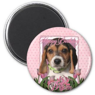 Happy Birthday - Pink Tulips - Beagle Puppy Refrigerator Magnet