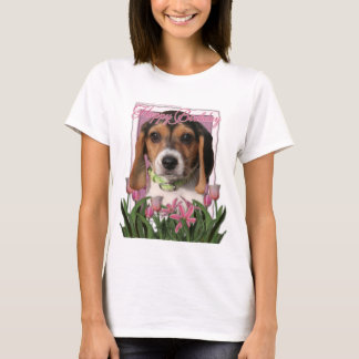 Happy Birthday - Pink Tulips - Beagle Puppy T-Shirt