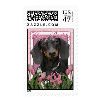 Happy Birthday - Pink Tulips - Dachshund - Winston Stamp