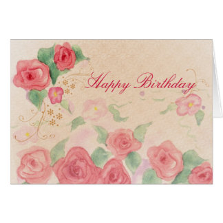 Happy Birthday Pink Victorian Rose Watercolor Art Card