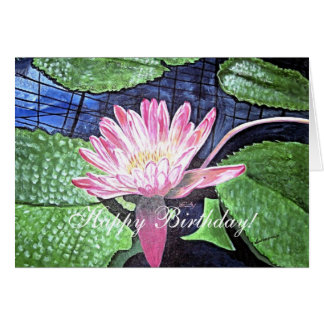 Happy Birthday Pink Water Lily Painting Card