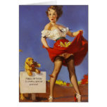 Happy Birthday Pinup Gal and Dog Greeting Card