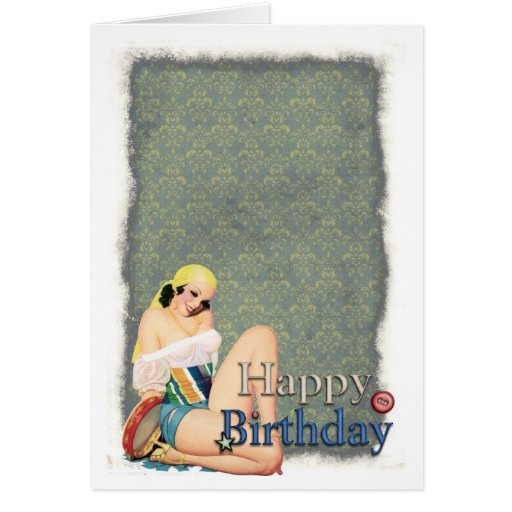 Happy Birthday Pinup Gal Greeting Card