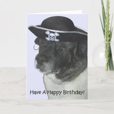 Happy Birthday Pirate Dog Cards by asimian. Pirate Loki helps you celebrate
