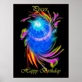 Happy Birthday Pisces Póster