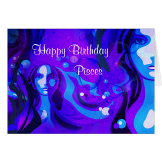 Happy Birthday Pisces Water Woman Greeting Card