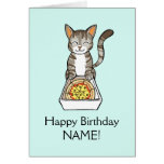 Happy Birthday Pizza Cat Card Personalise Template