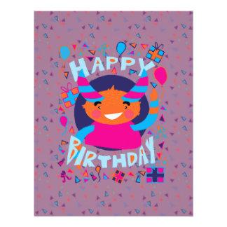 "Happy Birthday Playful Monster 8.5"" X 11"" Flyer"