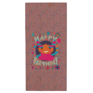 Happy Birthday Playful Monster Wood USB 2.0 Flash Drive