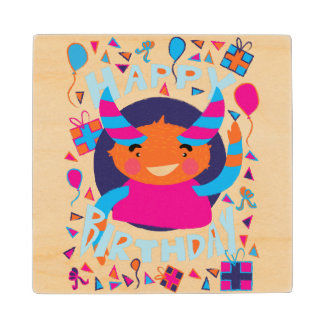 Happy Birthday Playful Monster Maple Wood Coaster