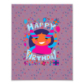 Happy Birthday Playful Monster Photo Print
