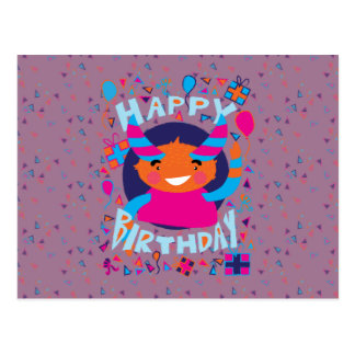 Happy Birthday Playful Monster Postcard
