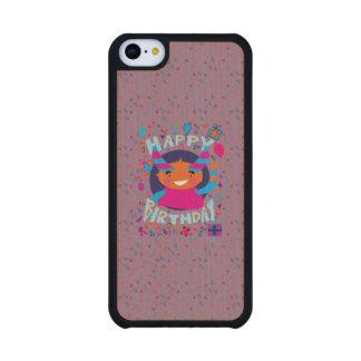 Happy Birthday Playful Monster Carved® Maple iPhone 5C Case