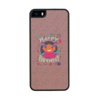 Happy Birthday Playful Monster Carved® Maple iPhone 5 Case
