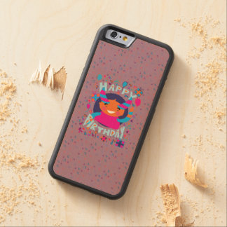 Happy Birthday Playful Monster Carved® Maple iPhone 6 Bumper Case
